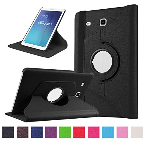 TGK 360 Degree Rotating Leather Smart Rotary Swivel Stand Case Cover for Samsung Galaxy Tab E (9.6 inch) SM- T560, T561,T565, T567V (Black) 25