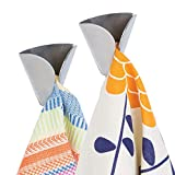 mDesign Decorative Metal Kitchen Self-Adhesive, Wall Mount Towel Hanger - Storage and Display Hook for Hand, Dish and Tea Towels - Stick on Inside or Outside of Doors - Unique Design, 2 Pack - Brushed