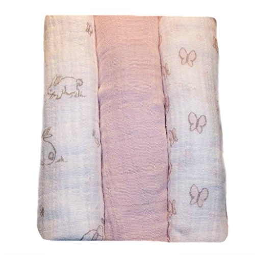 Jacqui's Baby Girls' 100% Cotton Muslin Receiving Blankets - Bunny, Preemie