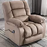 ANJ Manual Massage Recliner Chair with Heat and Vibration,Fabric Lounge Chair with Thickness Armrest and Backrest-R0504, Camel