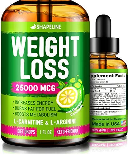 Weight Loss Drops - Appetite Suppressant for Women & Men - Made in The USA - Natural Metabolism Booster - Fast Weight Loss - Diet Drops with Garcinia Cambogia, L-Arginine & L-Glutamine 3