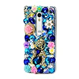 STENES Motorola Droid Maxx 2 Case - Luxurious 3D Handmade Sparkly Crystal Bling Cover Protection Case with Retro Bows Anti Dust Plug - Rhinestone Pretty Cat Crown Rose Flowers/Blue