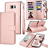 Tekcoo Compatible for Galaxy Note 5 Wallet Case/Samsung Galaxy Note 5 PU Leather Case, Luxury Cash Credit Card Slots Holder Carrying Flip Cover [Detachable Magnetic Hard Case] & Kickstand -Rose Gold