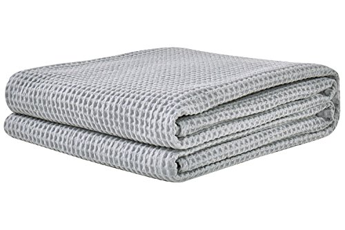 PHF Cotton Waffle Weave Bed Blanket Lightweight and Breathable Bed Home Decor King Size Light Grey