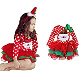 NNJXD Christmas Toddler Baby Girls Outfits Polka Dot Xmas Tutu Dress Santa Claus Pattern Red Dresses Size 4-5 Years Red/White