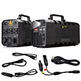 Kyng Power Solar Generator Portable Power Station UPS Battery 500w Continuous 1000w Peak Emergency Generator Rechargeable Inverter with 110V/500W 3 AC Outlet, 12V Car 4 USB Free Solar Panel Cable