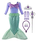 Padete Little Girl Mermaid Princess Costume Sequins Party Dress (3-4 Years, Long Sleeves with Accessories)