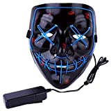 AIWOGEP Halloween Mask LED Light Up Mask for Festival Cosplay Halloween Costume Blue