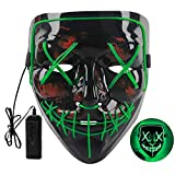 VTECHOLOGY Halloween Mask LED Light Up Mask Scary Mask EL Wire Cosplay Costume Mask for Festival Party for Men Women Kids Green