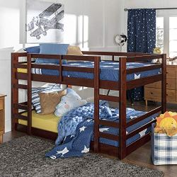 Walker Edison Wood Twin Bunk Kids Bed Bedroom with Guard Rail and Ladder, Espresso Brown
