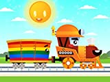 Learning colors - Painting railway carriages together with Train
