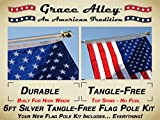 Flag Pole Kit: Includes Tangle Free Flagpole - Flag Pole Bracket and American Flag Made in USA Flag Pole Kit for House or Commercial. Wind Resistant - Rust Free.