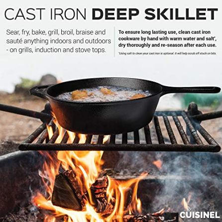 Pre-Seasoned-Cast-Iron-10-Inch-3-Quart-Deep-Skillet-Oven-Safe-Cookware-Use-As-Frying-Pan-Indoor-and-Outdoor-Use-Grill-Stovetop-Induction-Safe