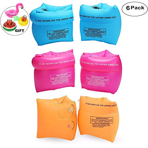 Furry Sunny PVC Arm Floaties Inflatable Swim Arm Bands Floater Sleeves Swimming Rings Tube Armlets for Kids Toddlers and Adults 6 Pack (Pink Blue Orange)