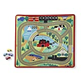 Melissa & Doug Round the Town Road Rug & Car Set (Cars & Trucks, Safe for All Floors, 4 Wooden Cars, 36' W x 39'L)