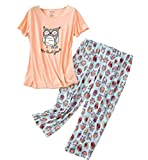 Women's Pajama Sets Capri Pants with Short Tops Cotton Sleepwear Ladies Sleep Sets SY296-Owl-XL
