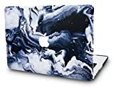 KECC Laptop Case for MacBook Pro 13' (2019/2018/2017/2016) Plastic Hard Shell Cover A1989/A1706/A1708 Touch Bar (Black Grey Marble)
