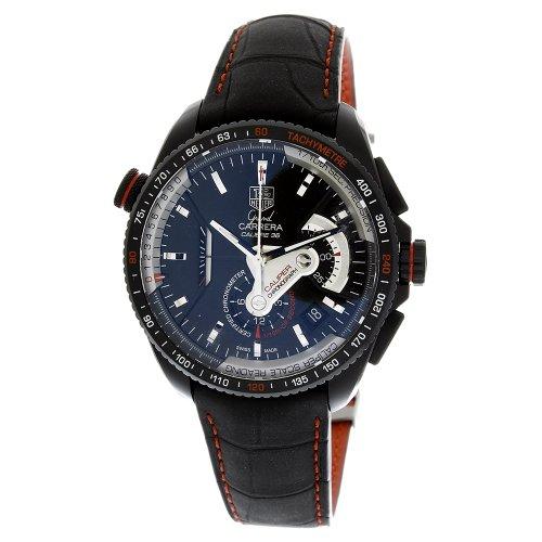 51j8h JyJcL Swiss Automatic movement Black dial Titanium case, black leather strap