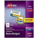 Avery 5395 Adhesive Name Badge Labels, Rectangular, White, Box of 400