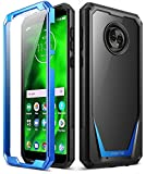 Moto G6 Case, Poetic Guardian [Scratch Resistant Back] [360 Degree Protection] Full-Body Rugged Clear Hybrid Bumper Case with Built-in-Screen Protector for Motorola Moto G6 Blue