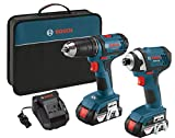 Bosch 18V 2-Tool Combo Kit with 1/2-Inch Drill/Driver, 1/4-Inch Impact Driver CLPK26-181, 2 Batteries, Charger and Contractor Bag