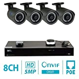 GW Security 8 Channel H.265 4K NVR 5-Megapixel Security Camera System, 4pcs 5MP 1920p 3.6mm Wide Angle POE Waterproof Bullet IP Cameras, 100ft Night Vision