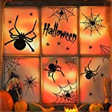 UNEEDE Spider Stickers Halloween Spider and Webs Wall Decals Vinyl Window Clings Set Halloween Eve Decor for Kids Rooms, Classrooms, Bedroom, Halloween Party