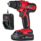 NoCry 20V Cordless Drill Kit - 266 in-lb (30 N.m) Max Torque Driver, 2 Gear Speeds (Max 1400 RPM), 3/8 inch Chuck, 21+1 Clutch Positions, LED work light; 1.5 Ah Battery & Fast Charger Included