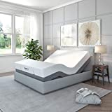 Classic Brands Adjustable Comfort Upholstered Adjustable Bed Base with Massage, Wireless Remote, Three Leg Heights, and USB Ports-Ergonomic Full