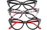SOOLALA Ladies 50mm Lens Fashion Designer Cat Eye Reading Glasses Customized Strengths, 3mix, x1.0