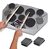 Pyle Pro Electronic Drum kit - Portable Electric Tabletop Drum Set Machine with Digital Panel, 7 Drum Pad, Hi-Hat/Kick Bass Pedal Controller USB AUX -Tom Toms, Hi-Hat, Snare Drums, Cymbals - PTED06