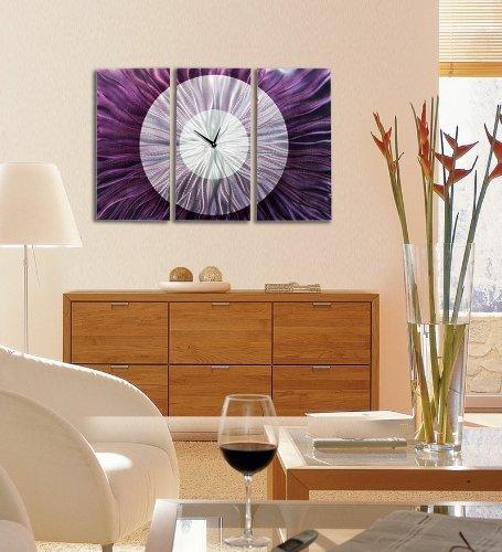 Purple Bowls Wine Bottels Modern Canvas Painting Wall Art: Dramatic Lavish And Distinctive Metallic Wall Decor