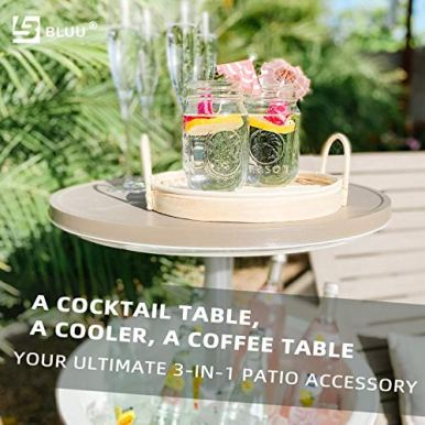 BLUU-Outdoor-Patio-Cooler-Bar-Outdoor-Patio-Furniture-and-Hot-Tub-Side-Table-Adjustable-Height-Tables-with-10-Gallon-Coffee-Beer-and-Wine-Cooler-Waterproof-Steady-Grey