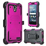 CoverLabUSA Compatible for ZTE Maven 3 Case, ZTE Overture 3 Case [Built In Screen Protector] Full-Body Rugged Holster Case [Belt Swivel Clip][Kickstand] for ZTE Maven 3/ZTE Overture 3 (Purple)