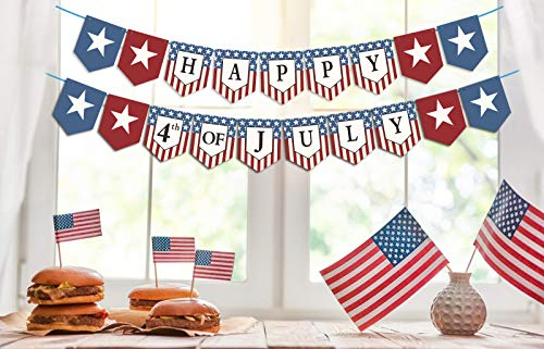 Dazonge Forth of July Patriotic Decorations - Stars and Stripes Happy 4th of July Banner - Memorial Day/Independence Day Decorations