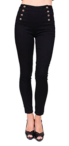Cello Jeans Women PLUS SIZE Black Double Buttoned High Waisted Sailor Skinny Jeans 16 Black