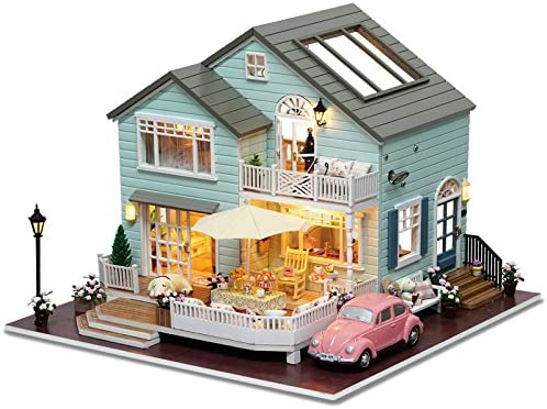Rylai Architecture Model Building Kits with Furniture LED Music Box Miniature Wooden Dollhouse Queenstown Holidays Series 3D Puzzle Challenge