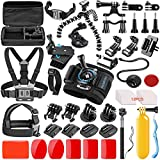 SmilePowo 42-in-1 Action Camera Accessorries for GoPro Hero 7 6 5 4 3/3+ 2 1 2018 Session/Fusion Black Silver DBPOWER AKASO APEMAN YI Campark SJCAM XIAOYI2 Sony Sports DV with Carrying Case