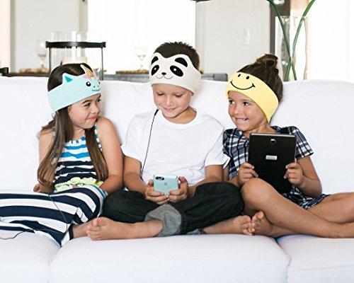 CozyPhones Kids Headphones Volume Limited with Ultra-Thin Speakers & Super Comfortable Soft Fleece Headband - Perfect Children's Earphones for Home and Travel - IVORY PANDA