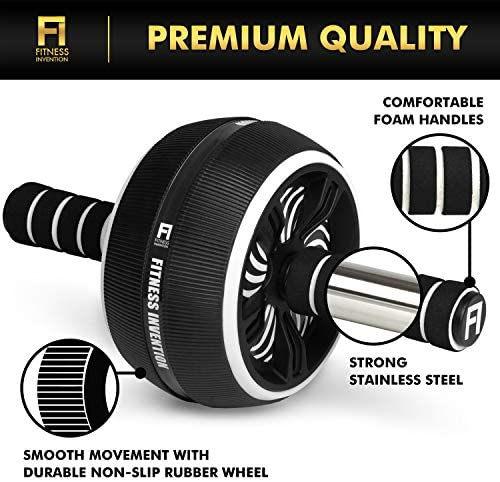 Fitness Invention Ab Roller Wheel - 3-in-1 Ab Wheel Roller with Knee Mat and Jump Rope - Ab Roller Wheel for Abdominal Exercise - Ab Workout - Home Workout Equipment - Abs Wheel Roller - Abs Roller 4