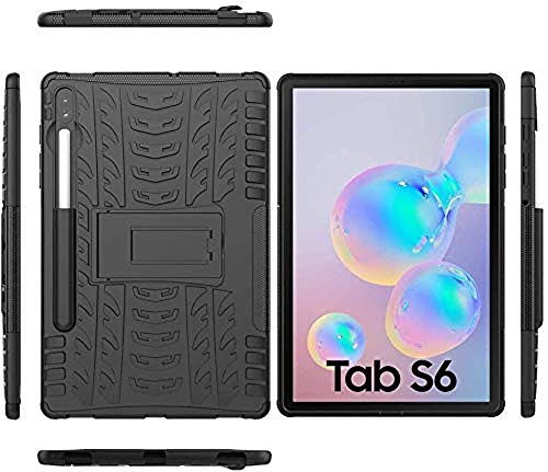 Zitel Armor Case for Samsung Galaxy Tab S6 2019 with S Pen Holder, Dual Layer Hybrid Drop Proof Full-Body Defender Cover with Stand for Samsung Tab S6 10.5 SM-T860/T865 - Black Armor 6