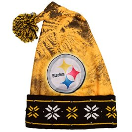 NFL Pittsburgh Steelers Light Up Printed Santa Hat, One Size, Black