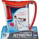 Brita 10-Cup Stream Filter as You Pour Water Pitcher, 36218, Red