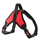 GeeRic Dog Harness No Pull Dog Vest Harness Adjustable Dog Harness with Handle Breathable Padded Dog Harness for Large Dogs D-Ring Locking Buckle, S/M/L/XL, Red/Black for Dogs Training Walking