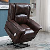 Esright Power Lift Chair Electric Recliner Wall Hugger PU Leather Heated Vibration with Multi-Function Control (Luxury Brown)
