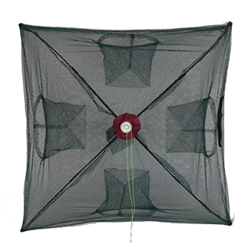 STEAM PANDA Cast Dip Net Umbrella Design Foldable Fishing Cage Umbrella Cage Shrimp Net Crab Cage Hand Throw Net Fish Protection Net Fishing Gear 4 Hole Mesh 2 Pcs
