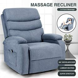 Artist Hand 8 Point Massage Recliner Lounge Chair, Zero Gravity Ergonomic Living Room Snuggling Sofa, Swivel Gliding Recliner with Lumbar Heated Remote Control Fit for Office Nap Theater Feeding Baby