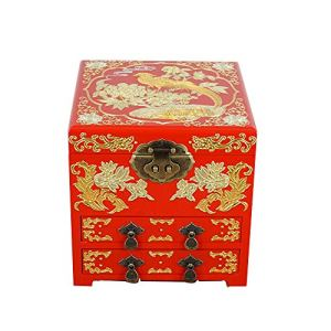 YDJGY Retro Jewelry box, wooden, Chinese storage box, dressing box, jewelry box, lacquer jewellery box, icing on the cake 51jRjm95AqL