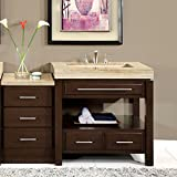 Product review for Silkroad Exclusive Stone Top Single Sink Bathroom Vanity with Modern Furniture Cabinet, 56-Inch