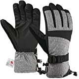 Andake Mens Ski Gloves 3M Thinsulate Insulated Thermal Warm Snow Gloves Waterproof Windproof Non-Slip PU Palms Men's Winter Gloves for Skiing Snowboarding Riding Climbing Skating